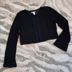 Forever 21 Crochet Black Top Crop Large Knit